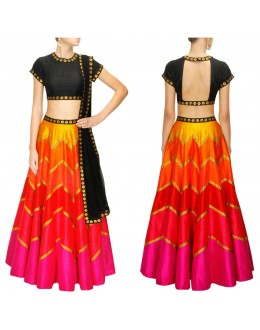 Bollywood Replica - Navratri Special Multi -Coloured Raw Silk Lehenga Choli - S1010