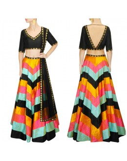 Bollywood Replica - Designer Multi-Coloured Raw Silk Lehenga Choli - S1015