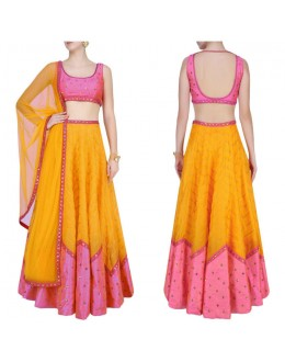 Bollywood Replica - Designer Orange & Pink Raw Silk Lehenga Choli - S1016