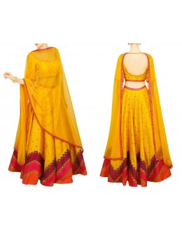 Bollywood Replica - Designer Yellow Raw Silk Lehenga Choli - S1022
