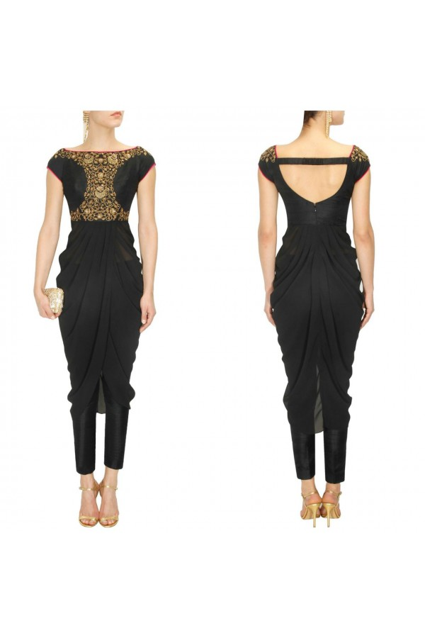 Bollywood Replica - Black Floral Sequins Off-Shoulder Drape Kurta & Straight pant Set - S337