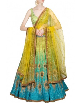 Bollywood Replica - Wedding Wear Blue & Green Lehenga Choli -  S340