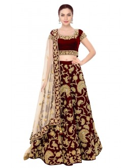 Bollywood Replica - Bridal Wear Maroon Velvet Embroidered Lehenga Choli - S341