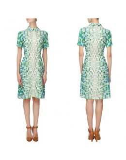 Bollywood Inspired : Western Off-White & Green Short Dress - S389