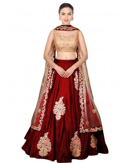 Bollywood Replica - Wedding Wear Maroon Raw Silk Lehenga Choli - S407