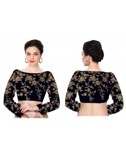 Bollywood Inspired - Designer Navy Blue Unstitched Silk Blouse - S414