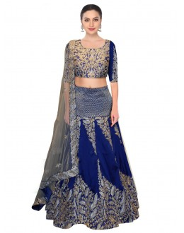 Bollywood Replica - Wedding Wear Navy Blue Tafeta Silk Lehenga Choli - S468