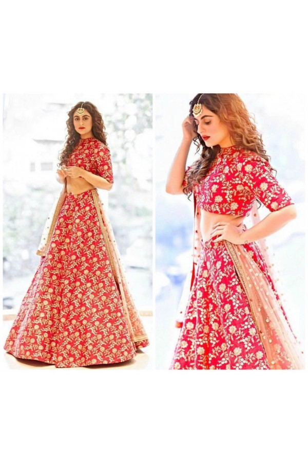 Bollywood Style -Bridal Red Silk Lehenga Choli  - S469