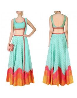 Bollywood Replica - Designer Mint Blue Raw Silk Lehenga Choli - S478