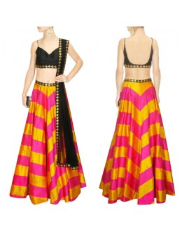 Bollywood Replica - Designer Hot Pink & Yellow Raw Silk Lehenga Choli - S484