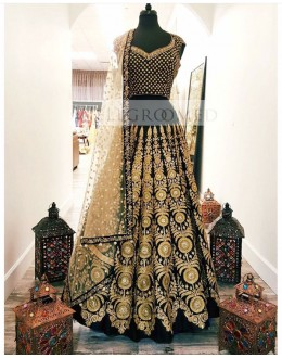 Bollywood Replica - Wedding Wear Black Heavy Sequin Embellished Lehnega Choli - S492