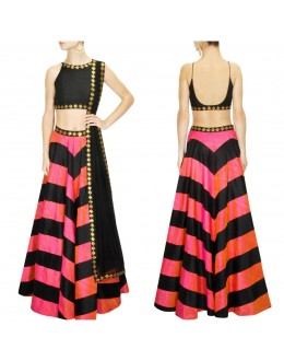 Bollywood Replica - Designer Pink & Black Raw Silk Lehenga Choli - S493