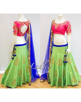 Bollywood Replica - Wedding Wear Green Tapeta Silk Lehenga Choli - S514