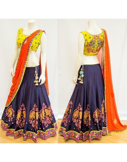 Bollywood Style - Designer Yellow & Blue Silk Lehenga Choli  - S515