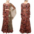 Bollywood Replica - Black Roses Printed Flared Tafeta Silk Lehenga Choli - S522