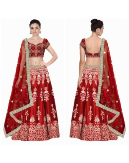 Bollywood Replica - Bridal Red Embroidered Art Silk Lehenga Choli - S533