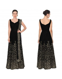 Bollywood Style - Wedding Wear Black Art Silk Anarkali Suit - S614