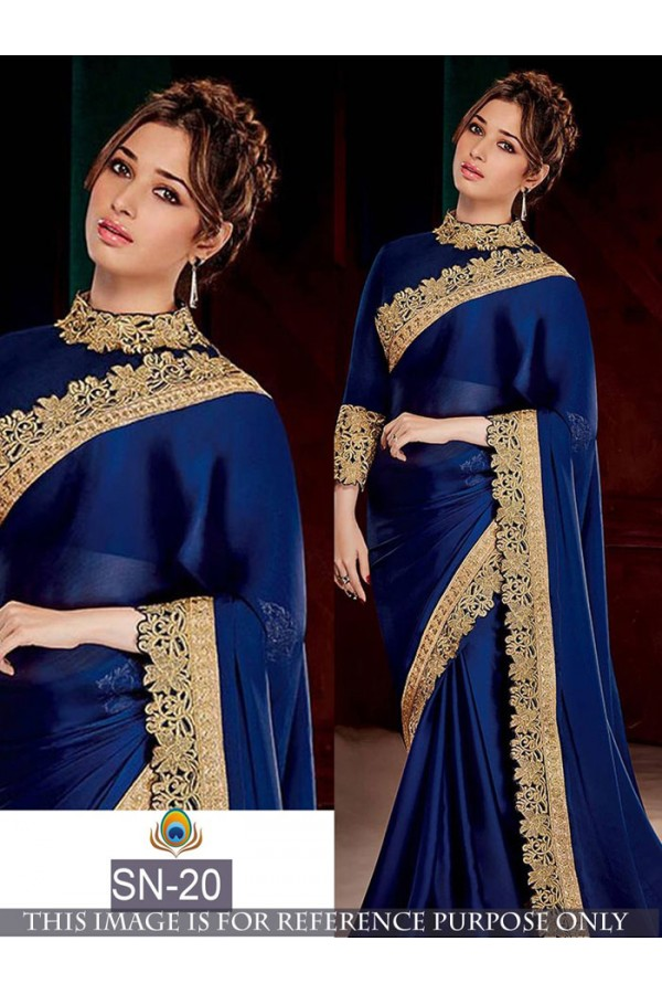 54a4407370 Bollywood Replica - Tamanna Bhatia In Designer Blue Georgette Saree - SN-20