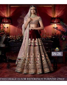 Bollywood Replica - Bridal Wear Maroon Velvet Lehenga Choli - SN-26