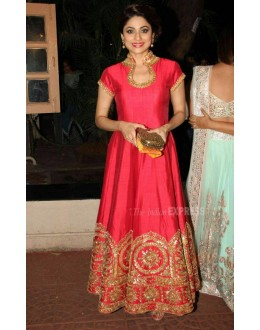 Bollywood Replica - Shamita Shetty Designer Pink Silk Anarkali Suit - SS01