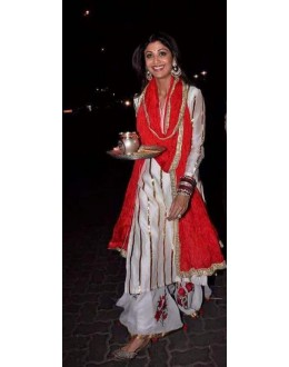 Bollywood Replica - Shilpa Shetty In Designer Cream Salwar Suit - 01S