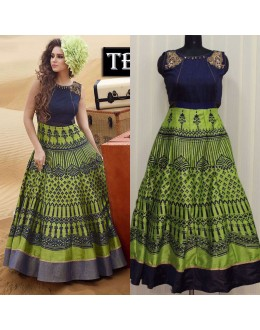 Bollywood Replica - Party Wear Green Banglori Silk Anarkali Gown - TB-01
