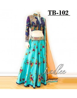 Bollywood Style - Sky Blue Embroidered Lehenga Choli  -TB-102