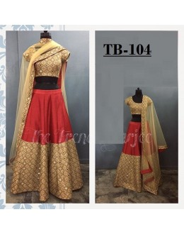 Bollywood Style - Wedding Wear Red & Beige Silk Lehenga Choli  -TB-104
