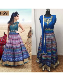 Bollywood Replica - Digital Printed Blue Silk Anarkali Gown - TB-59