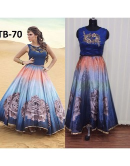 Bollywood Replica - Digital Printed Shaded Blue Silk Anarkali Gown - TB-70