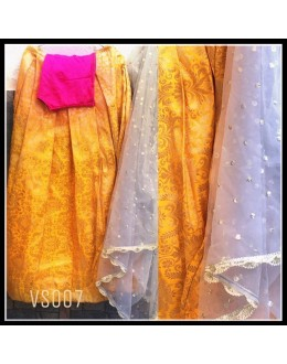 Bollywood Replica - Wedding Wear Yellow & Pink Pure Brocade Lehenga Choli - VS007