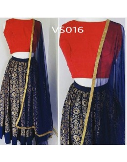 Bollywood Replica - Wedding Wear Blue & Red Pure Brocade Lehenga Choli - VS016