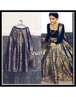 Bollywood Replica - Pure Brocade Wedding Wear Blue & Golden Lehenga Choli - VS019