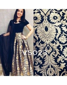 Bollywood Replica - Party Wear Brocade Pure Silk Black Lehenga Choli - VS023