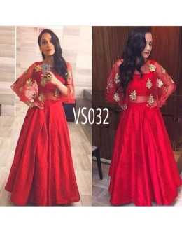 Bollywood Replica - Wedding Wear Red Raw Silk Cape Style Lehenga Choli - VS032