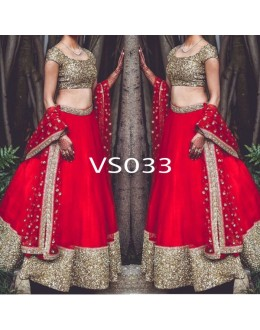 Bollywood Replica - Wedding Wear Red Raw Silk Lehnega Choli - VS033