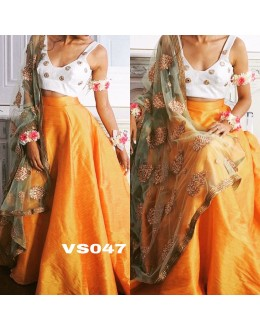 Bollywood Replica - Party Wear Yellow Pure Tafeta Silk Lehenga Choli - VS047