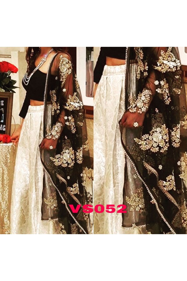 Bollywood Replica - Wedding Wear Cream & Black Lehenga Choli - VS052