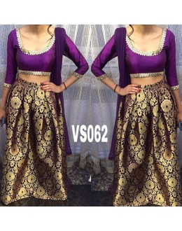 Bollywood Replica - Pure Brocade Golden & Purple Lehenga Choli - VS062