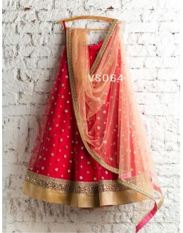 Bollywood Replica - Bridal Wear Red & Beige Net Lehenga Choli - VS064