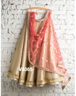 Bollywood Replica - Bridal Wear Golden & Rose Pink Net Lehenga Choli - VS065