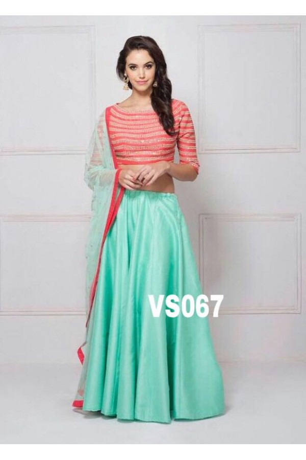 Bollywood Replica - Party Wear Sea Green & Red Lehenga Choli  - VS067