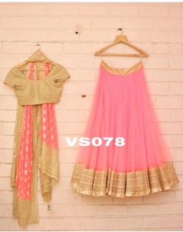 Bollywood Style - Wedding Wear Pink & Golden Lehenga Choli - VS078