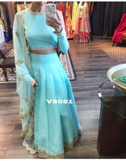 Bollywood Style - Party Wear Blue Silk Lehenga Choli  - VS081