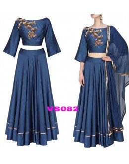 Bollywood Style - Fancy Blue Satin Crepe Silk Lehenga Choli  - VS082