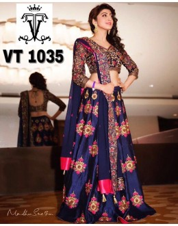 Bollywood Replica - Wedding Wear Blue Embroidered Lehenga Choli - VT1035