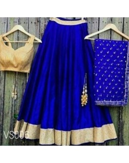 Bollywood Replica - Wedding Wear Blue Raw Silk Lehenga Choli - VS006