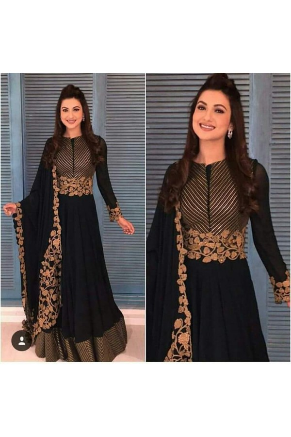Bollywood Replica - Gauhar Kahn In Designer Black Anarkali Suit   - 001
