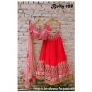 Bollywood Replica - Bridal Red Pure Raw Silk Lehenga Choli - Bolly-108
