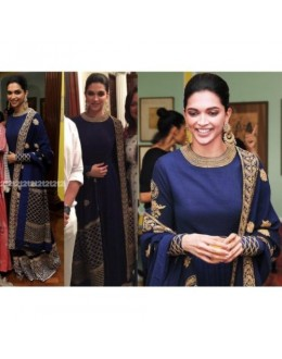 Bollywood Replica - Deepika Padukone Designer Blue Georgette Embroidered Anarkali Suit - D01 ( MJ )